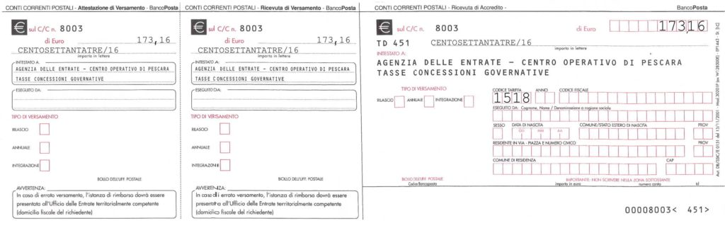 BOLLETTINO 8003 - Tassa Concessione Governativa-1