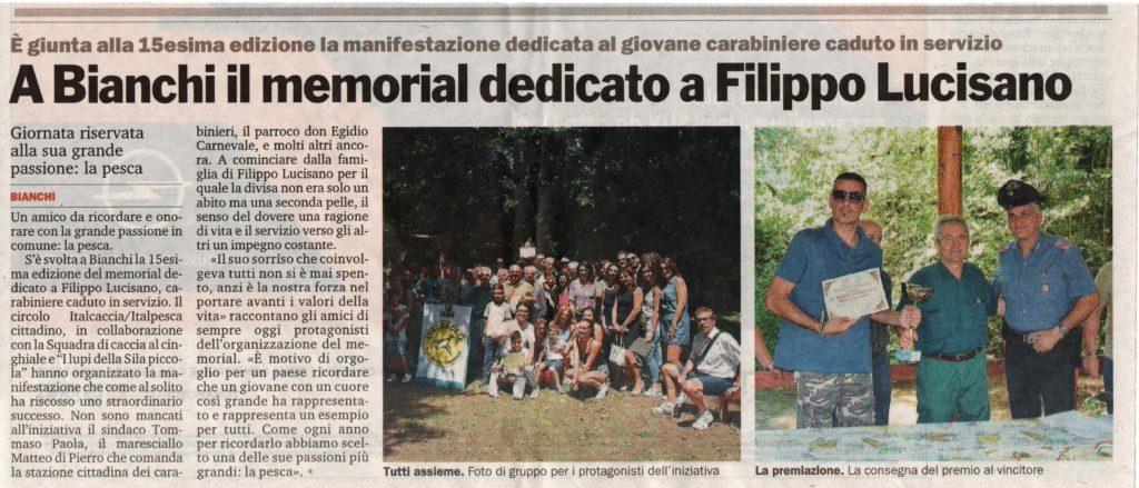 articolo Memorial Filippo Lucisano